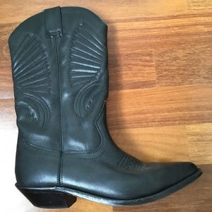 Stylish, black leather cowboy boots